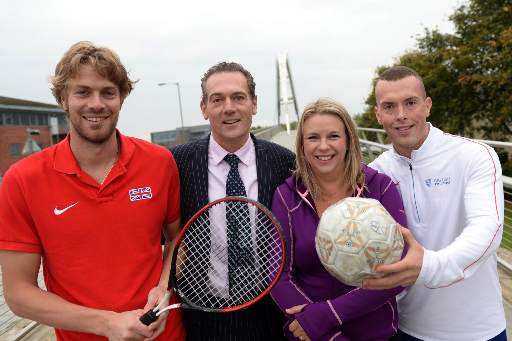 Middlesbrough and Teesside Philanthropic Foundatioin are launching a sports project to help fund local up and coming sportsmen and women. Pictured is chairman Andy Preston with patron Emma Simpkins and local athletes Chris Tomlinson and Richard Kilty at the launch . 16/10/15 Pic Doug Moody Photography.